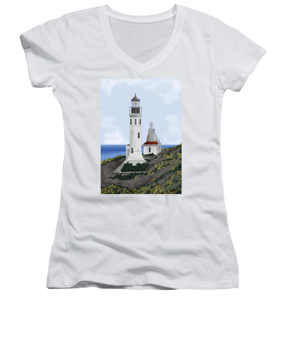 Lighthouse Women's V-Neck (Athletic Fit) featuring the painting Anacapa Lighthouse California by Anne Norskog