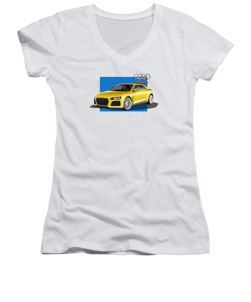 �audi� Collection By Serge Averbukh Women's V-Neck featuring the photograph Audi Sport Quattro Concept With 3 D Badge by Serge Averbukh
