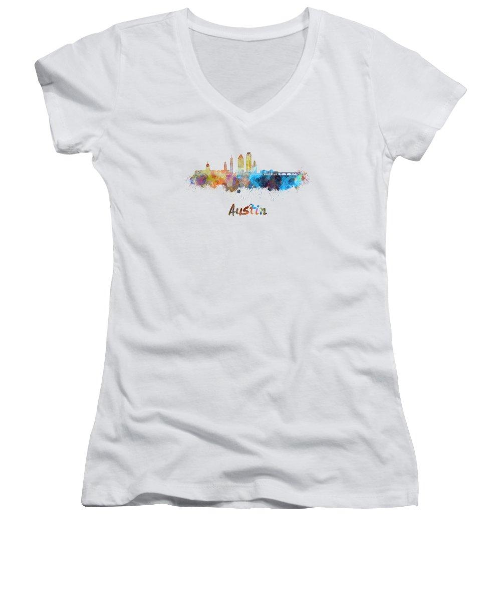 Austin Skyline Women's V-Neck T-Shirts