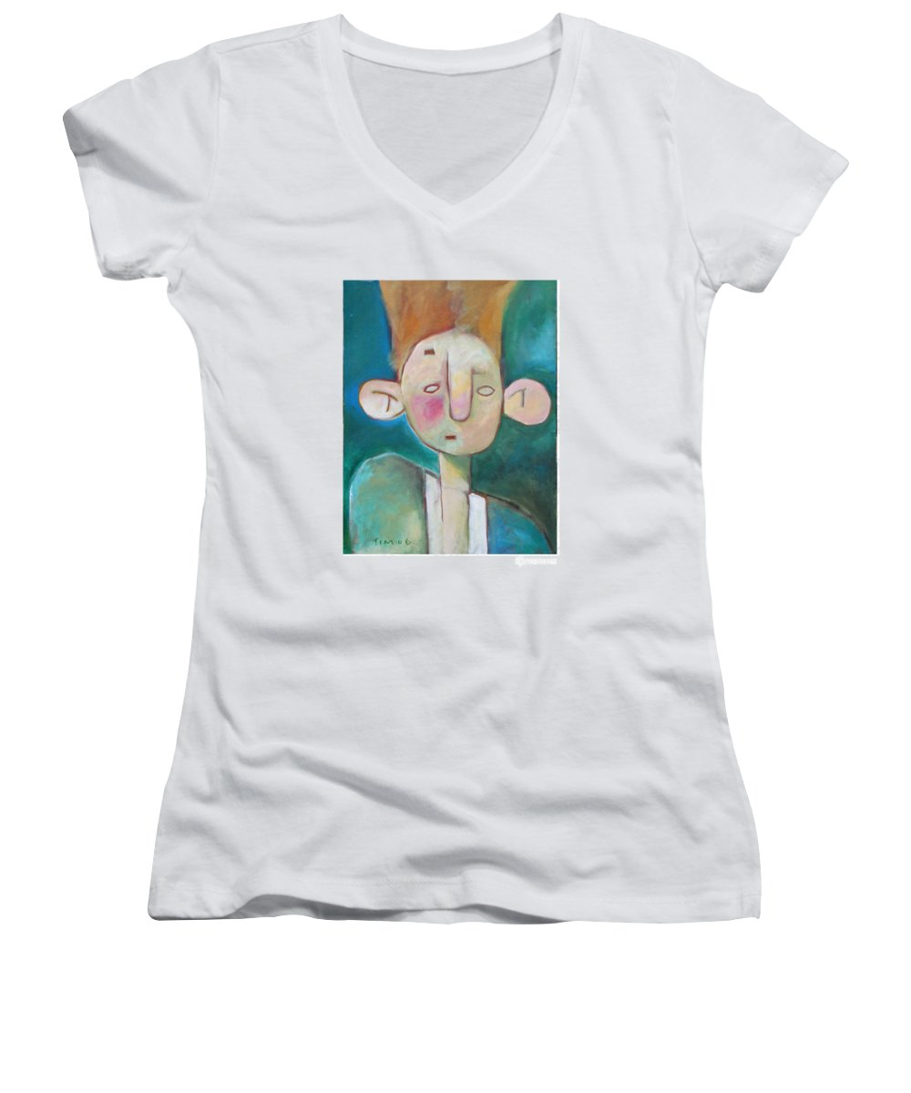 Funny Women's V-Neck (Athletic Fit) featuring the painting Bad Hair Life by Tim Nyberg