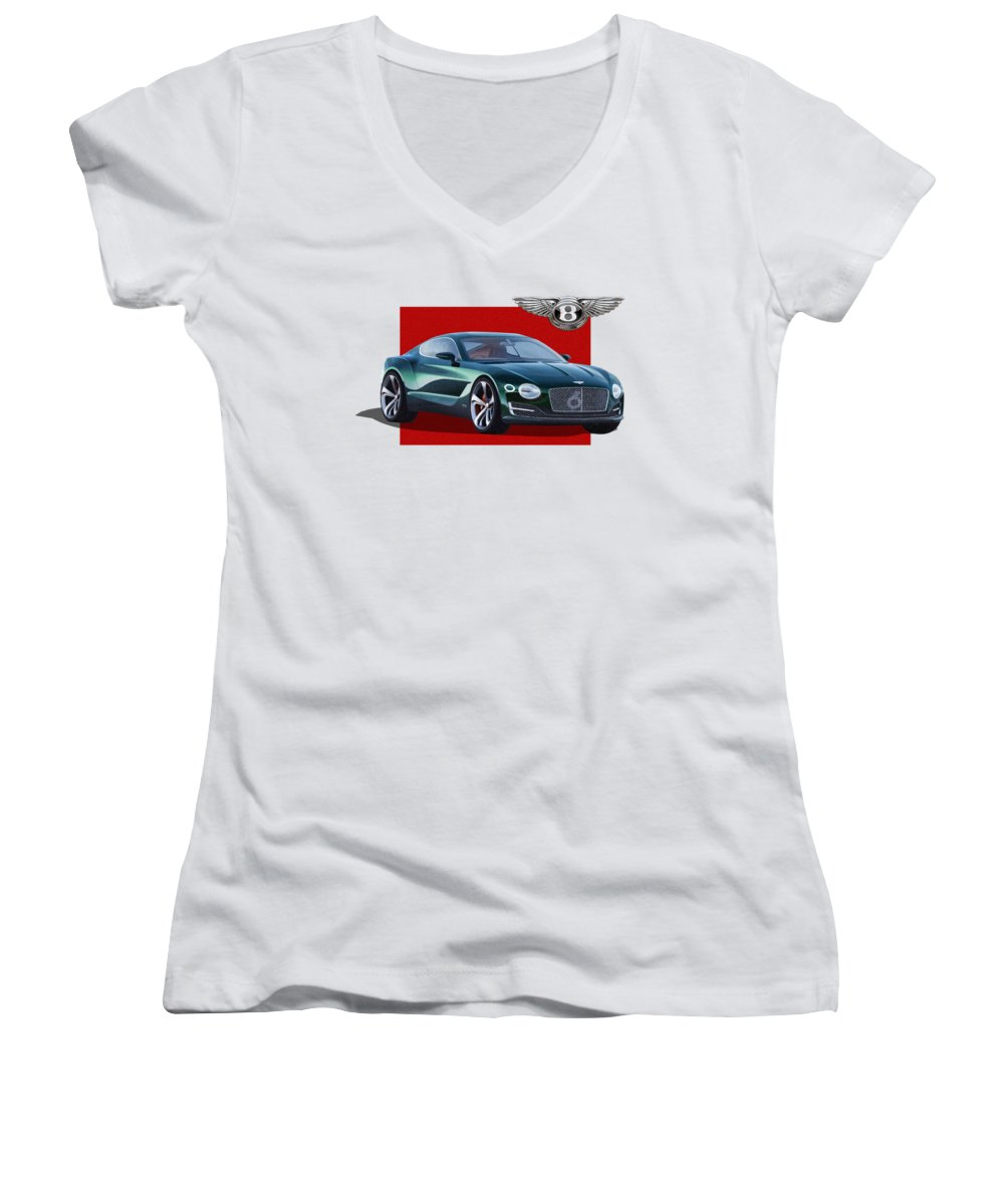 �bentley� Collection By Serge Averbukh Women's V-Neck featuring the photograph Bentley E X P 10 Speed 6 with 3 D Badge by Serge Averbukh
