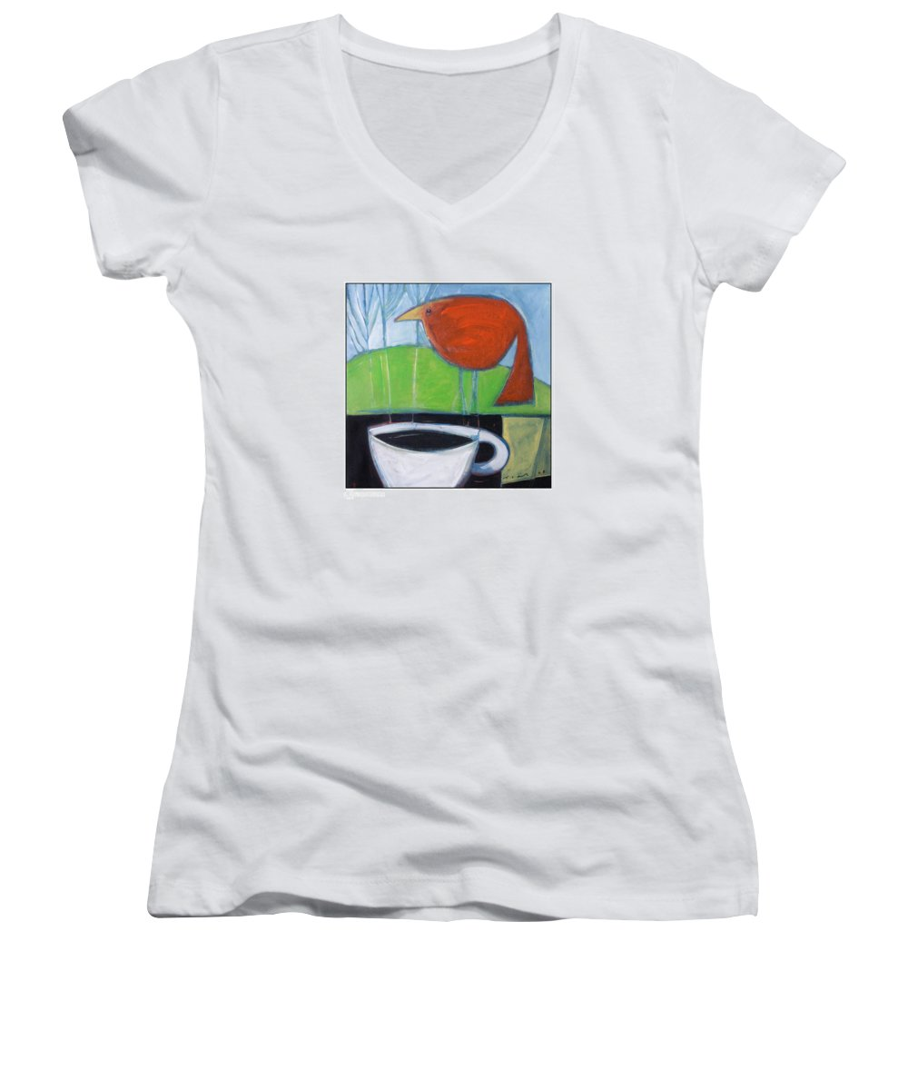 Bird Women's V-Neck T-Shirt featuring the painting Coffee With Red Bird by Tim Nyberg