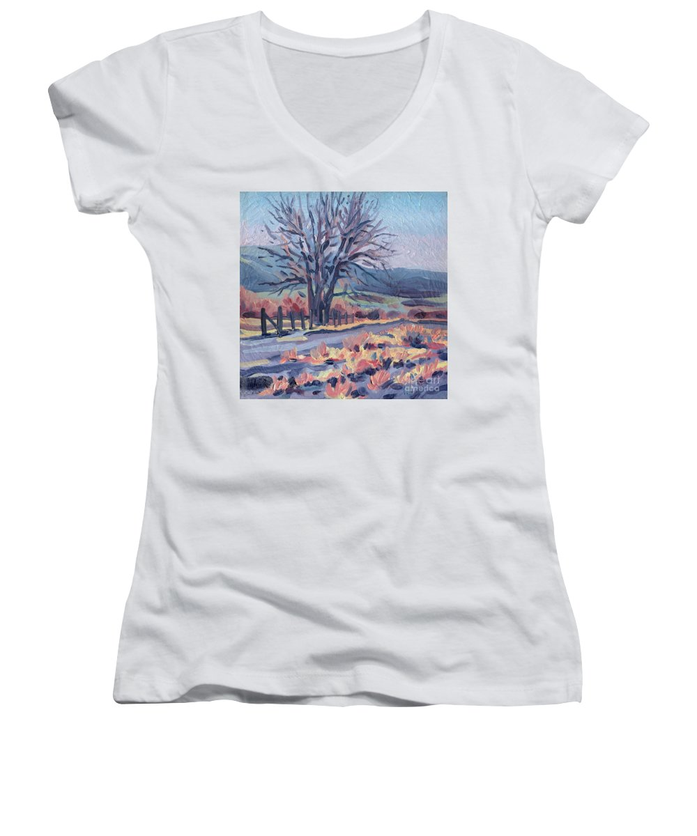 Road Women's V-Neck T-Shirt featuring the painting Country Road by Donald Maier