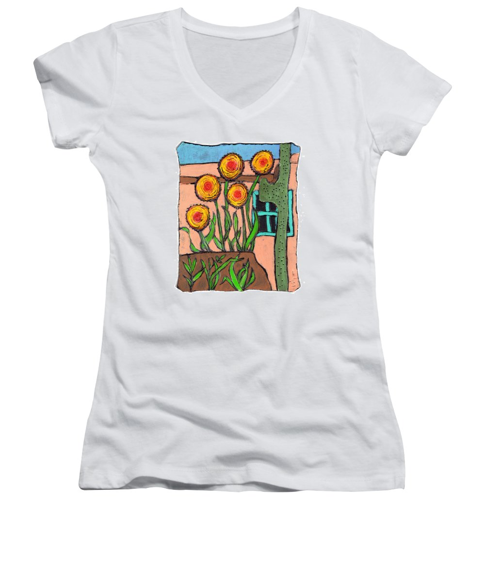 Desert Women's V-Neck (Athletic Fit) featuring the painting Desert Fantasy by Wayne Potrafka