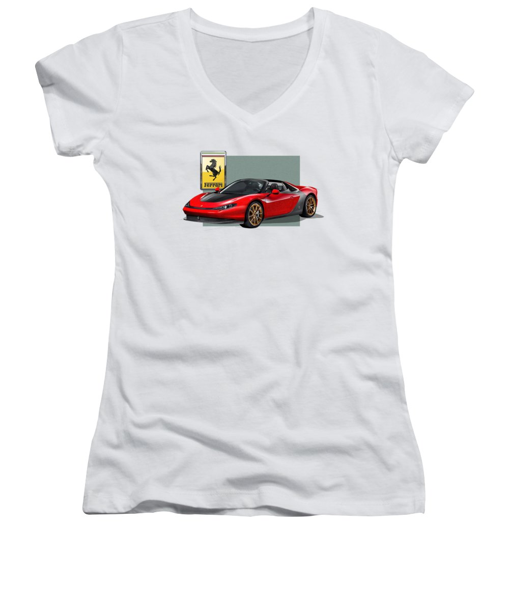 �ferrari� Collection By Serge Averbukh Women's V-Neck featuring the photograph Ferrari Sergio With 3d Badge by Serge Averbukh