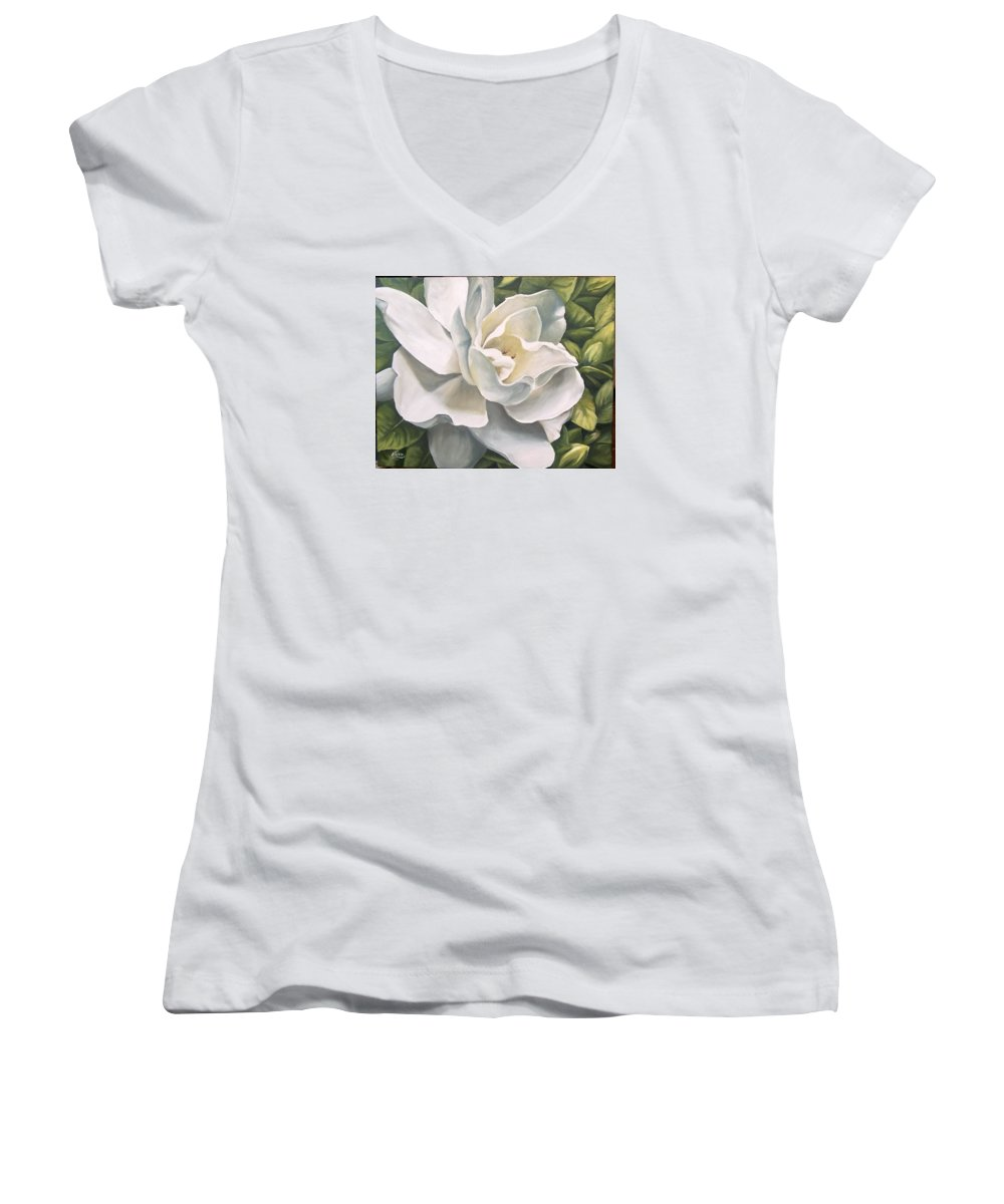 Flower Women's V-Neck T-Shirt featuring the painting Gardenia by Natalia Tejera
