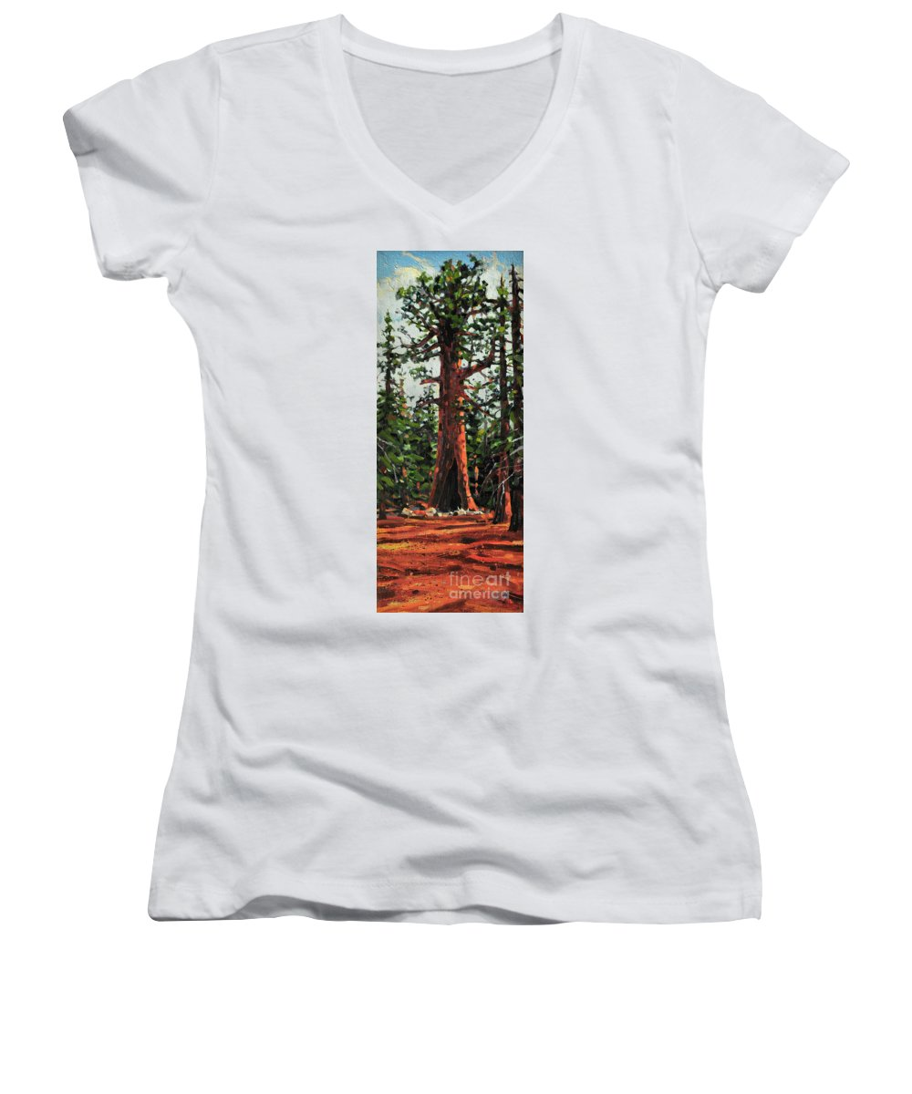 General Sherman Women's V-Neck T-Shirt featuring the painting General Sherman by Donald Maier