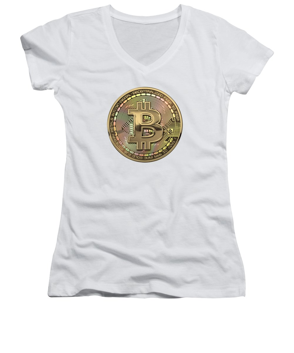 'money' Collection By Serge Averbukh Women's V-Neck featuring the photograph Gold Bitcoin Effigy Over White Leather by Serge Averbukh