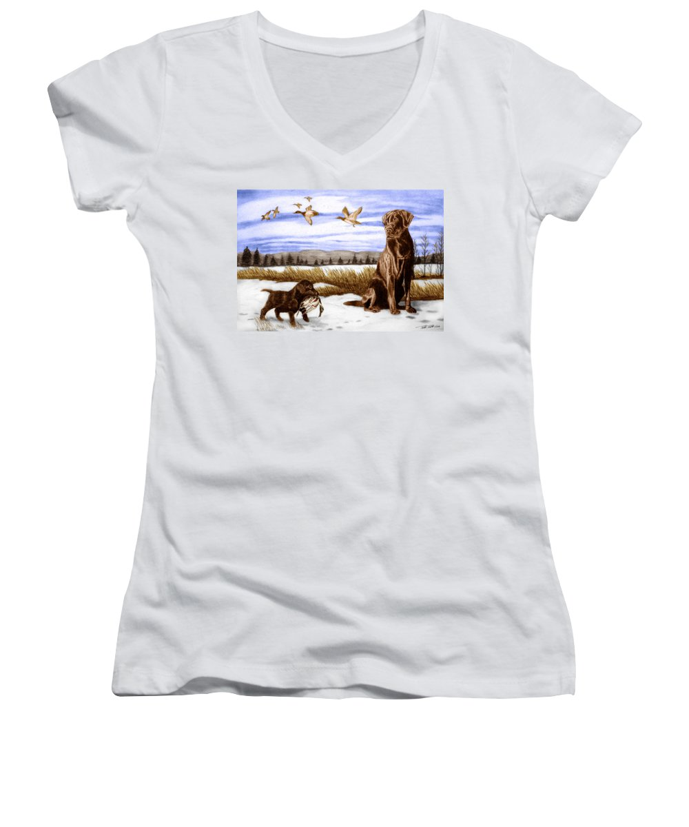 In Training Women's V-Neck T-Shirt featuring the drawing In Training by Peter Piatt