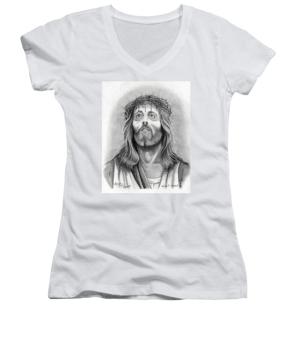 Jesus Christ Women's V-Neck (Athletic Fit) featuring the drawing King Of Kings by Murphy Elliott