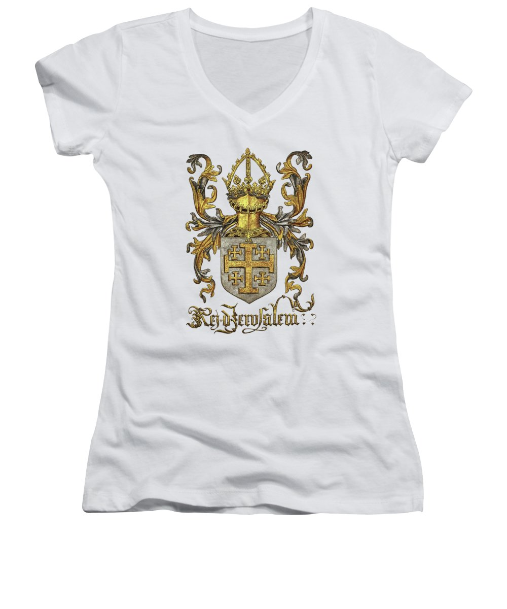 'roll Of Arms� Collection By Serge Averbukh Women's V-Neck T-Shirt (Junior Cut) featuring the photograph Kingdom Of Jerusalem Coat Of Arms - Livro Do Armeiro-mor by Serge Averbukh