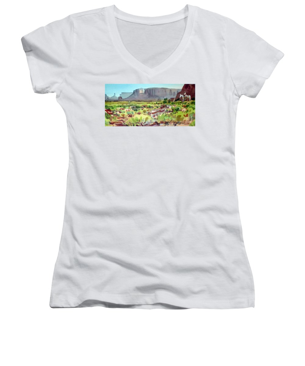 Navajo Women's V-Neck T-Shirt featuring the painting Lone Rider by Donald Maier