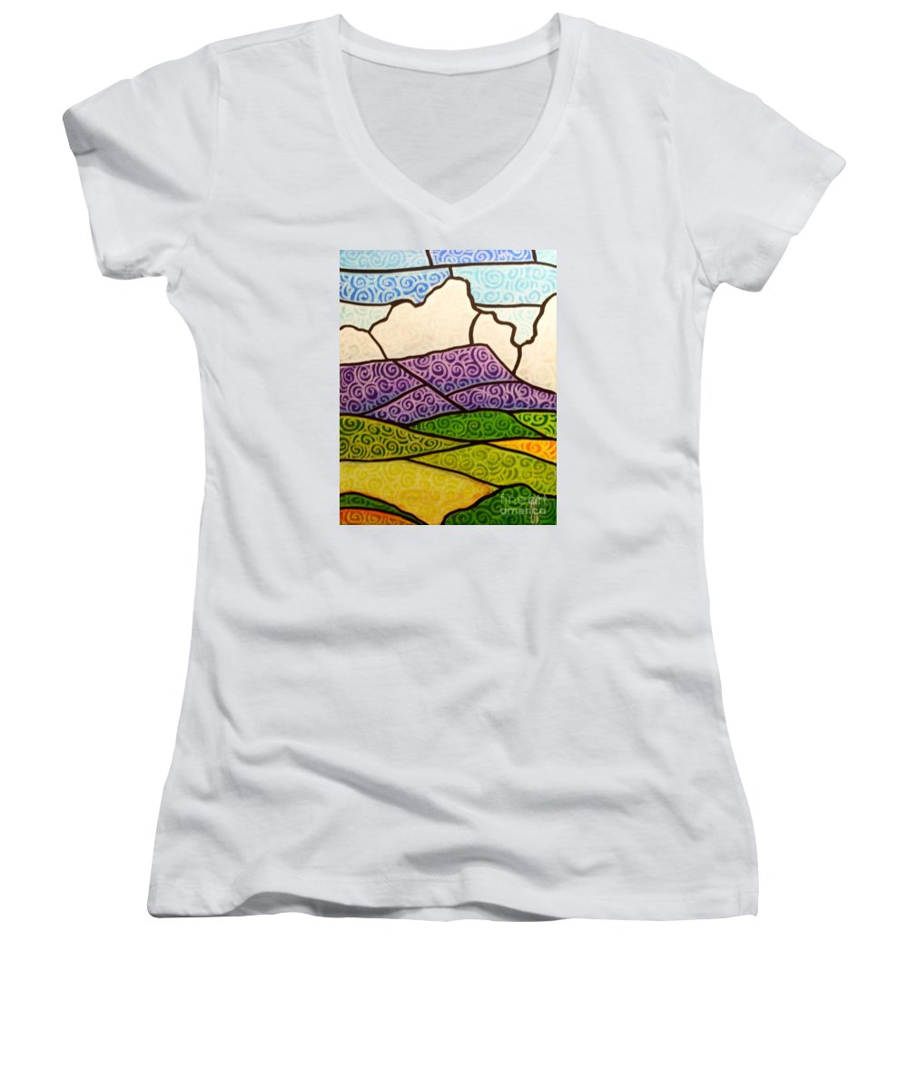 Mountians Women's V-Neck T-Shirt featuring the painting Massanutten Peak by Jim Harris
