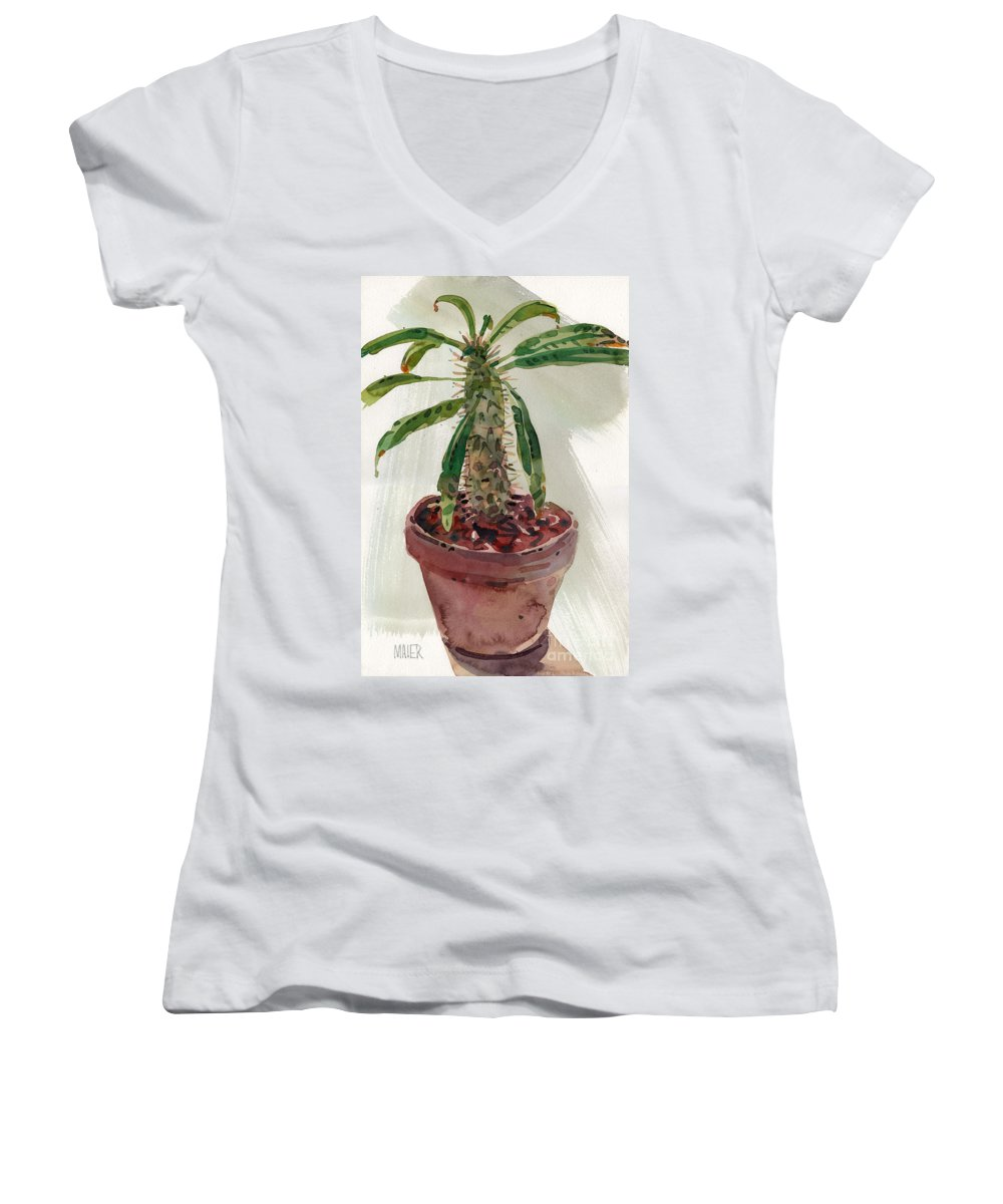 Euphorbia Women's V-Neck (Athletic Fit) featuring the painting Pachypodium by Donald Maier