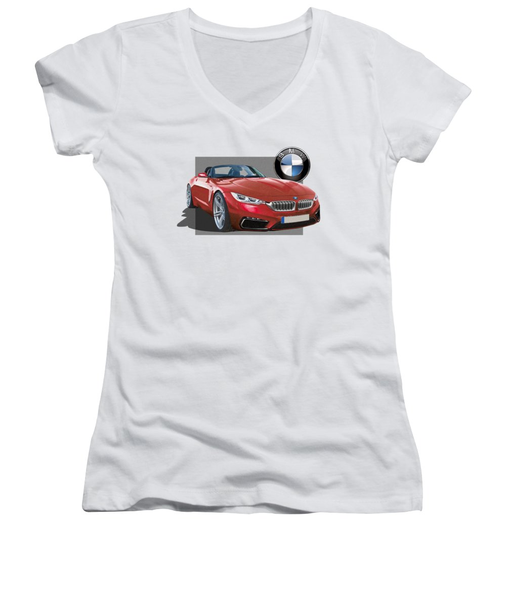 �bmw� Collection By Serge Averbukh Women's V-Neck featuring the photograph Red 2018 B M W Z 5 With 3 D Badge by Serge Averbukh