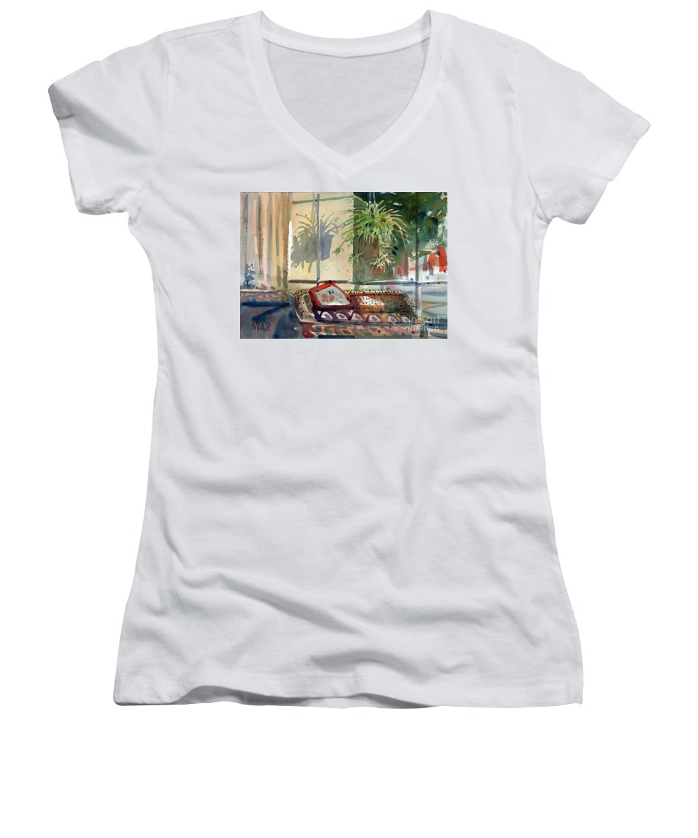 Spider Plant Women's V-Neck T-Shirt featuring the painting Spider Plant In The Window by Donald Maier