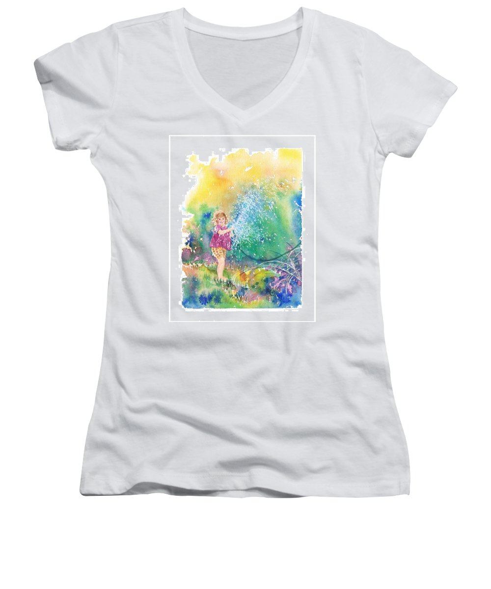Children Women's V-Neck T-Shirt featuring the painting Summer Fun by Gale Cochran-Smith