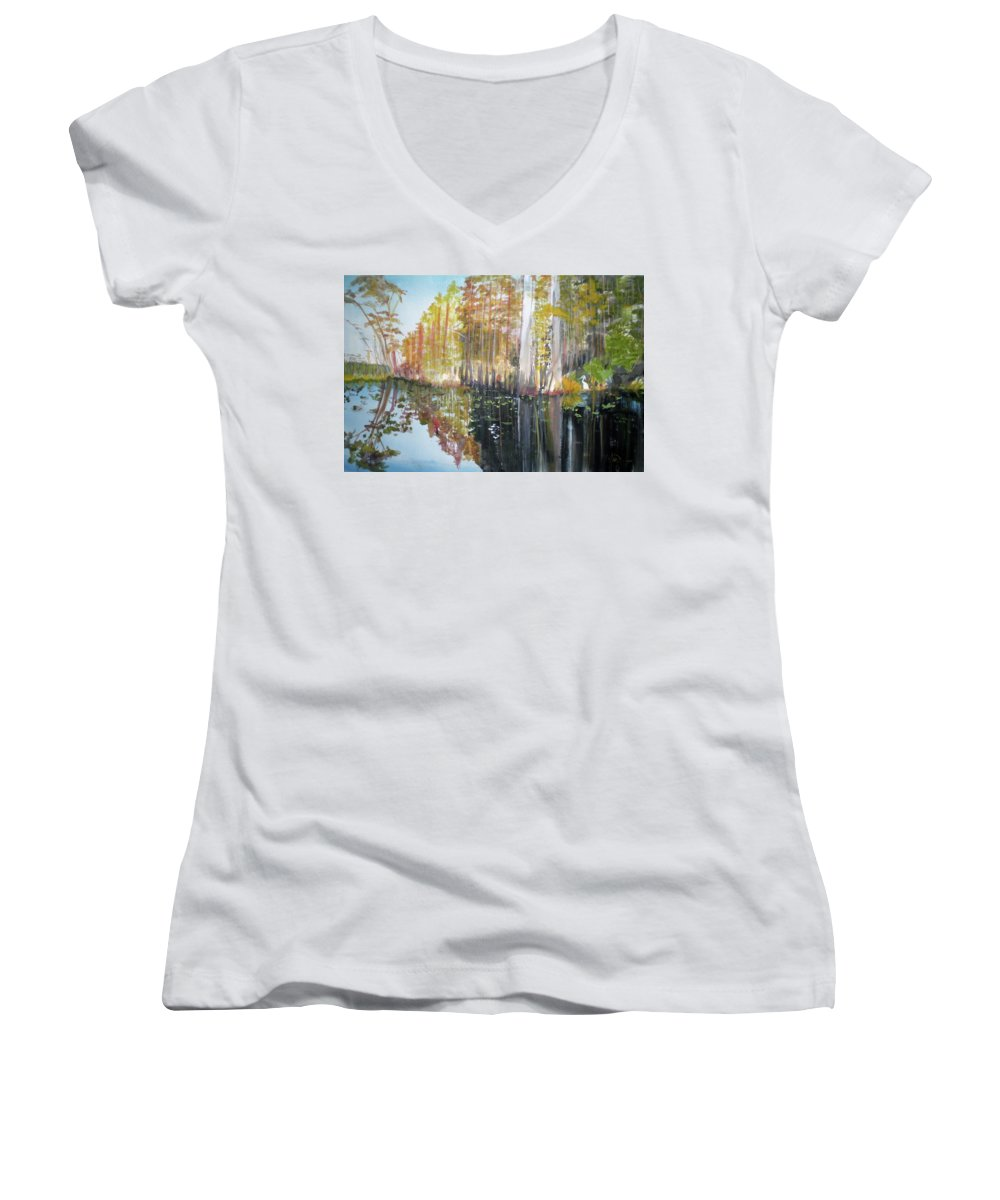 Landscape Of A South Florida Swamp At Dusk Feels Very Wild Women's V-Neck T-Shirt featuring the painting Swamp Reflection by Hal Newhouser