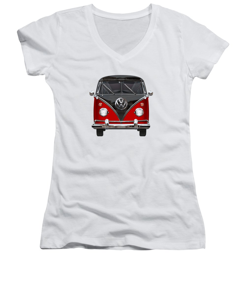 'volkswagen Type 2' Collection By Serge Averbukh Women's V-Neck T-Shirt featuring the photograph Volkswagen Type 2 - Red And Black Volkswagen T 1 Samba Bus On White by Serge Averbukh