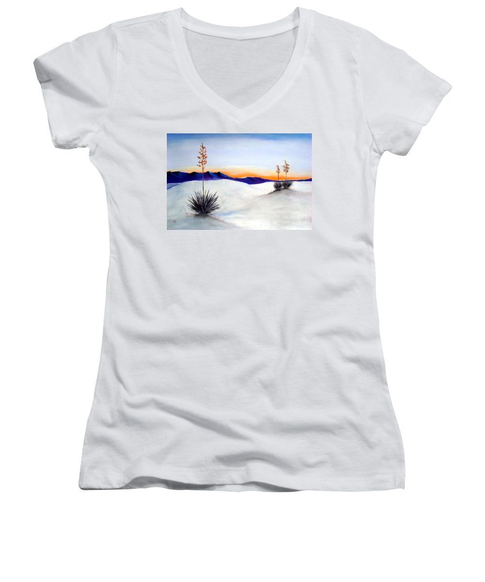 White Sands Women's V-Neck T-Shirt featuring the painting White Sands by Melinda Etzold