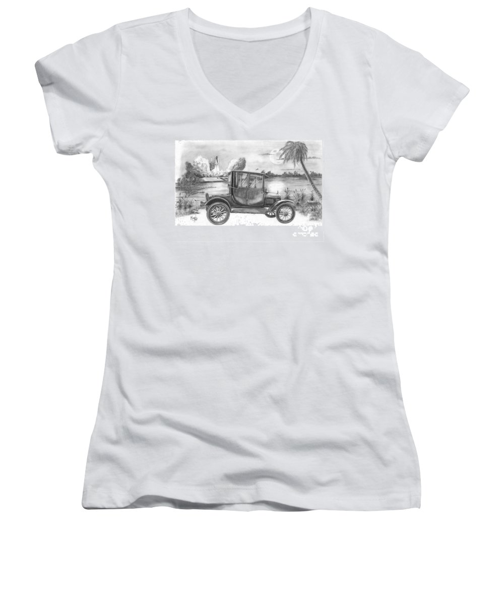 Pencil Women's V-Neck T-Shirt featuring the drawing Yesterday And Today by Murphy Elliott