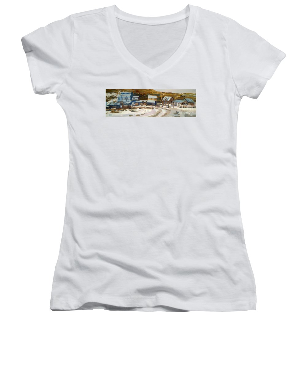 Ghost Town Women's V-Neck T-Shirt featuring the painting Bodie California 1979 by Donald Maier