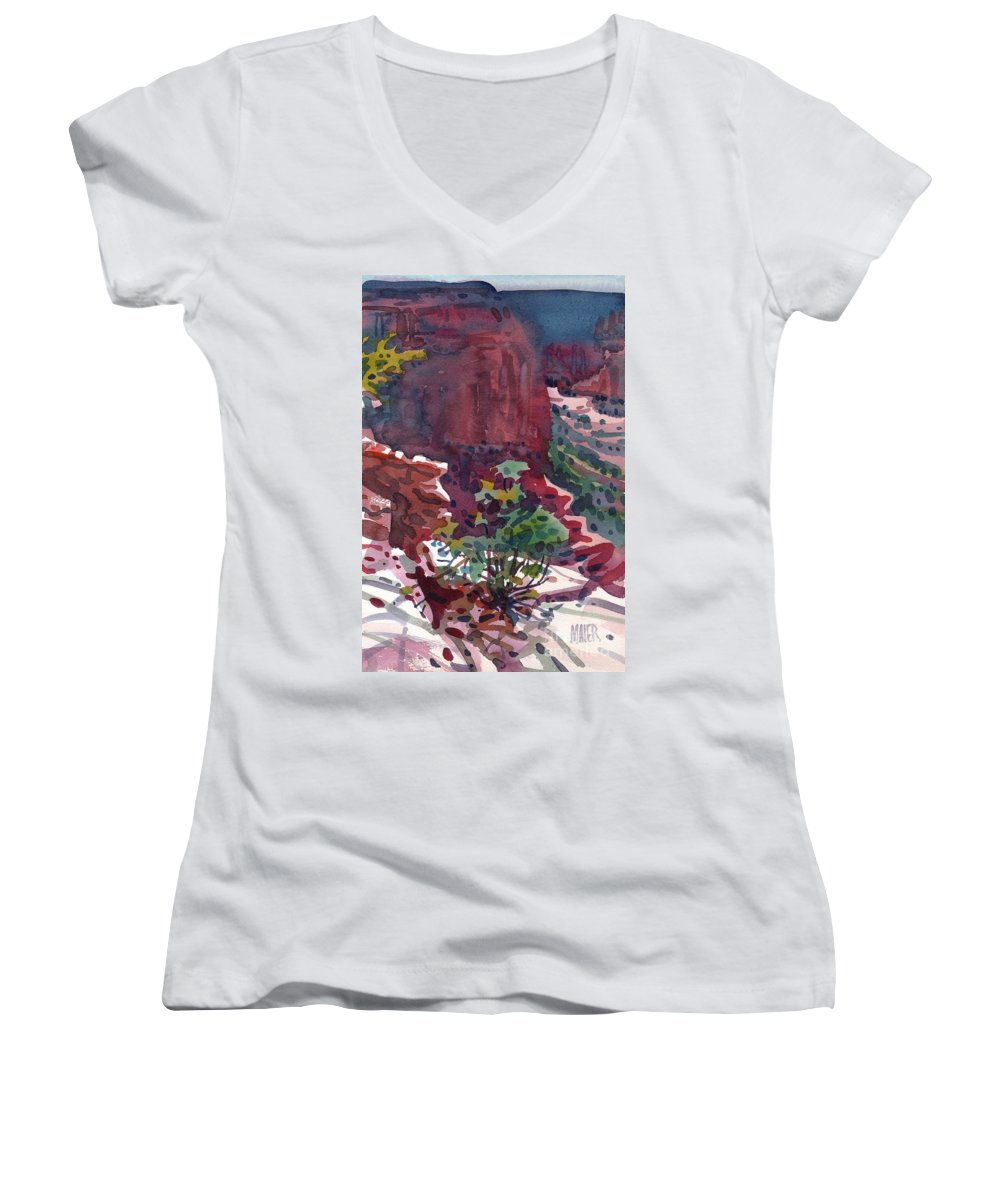 Canyon De Chelly Women's V-Neck (Athletic Fit) featuring the painting Canyon View by Donald Maier