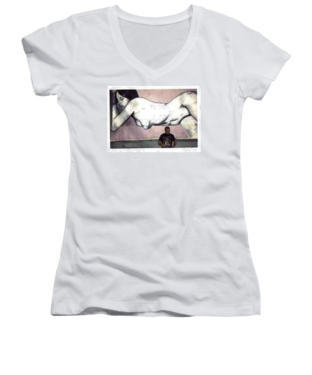 Nude Women's V-Neck (Athletic Fit) featuring the painting Missy by Thomas Valentine