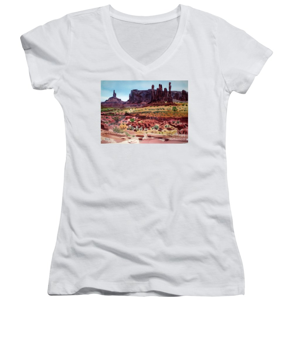 Monument Valley Women's V-Neck T-Shirt featuring the painting Totem Poles by Donald Maier