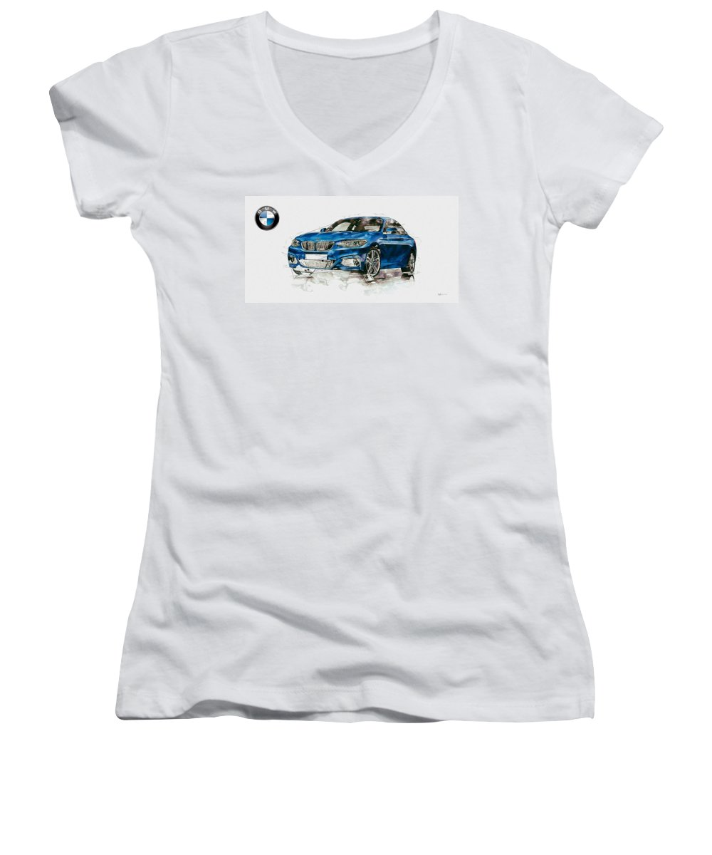 Wheels Of Fortune By Serge Averbukh Women's V-Neck featuring the photograph 2014 B M W 2 Series Coupe With 3d Badge by Serge Averbukh