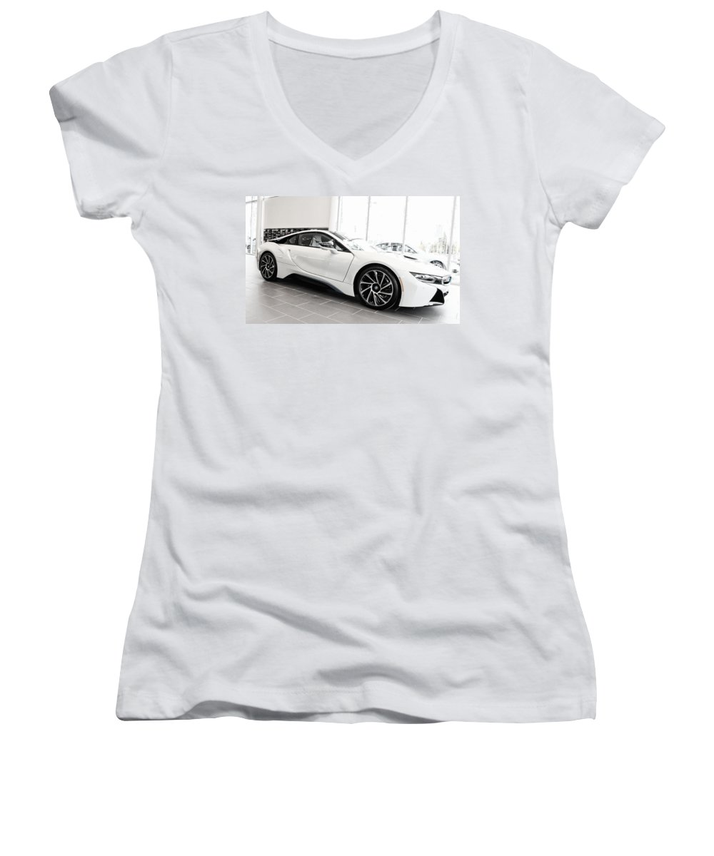 Bmw Women's V-Neck T-Shirt (Junior Cut) featuring the photograph 2014 Bmw E Drive I8 by Aaron Berg