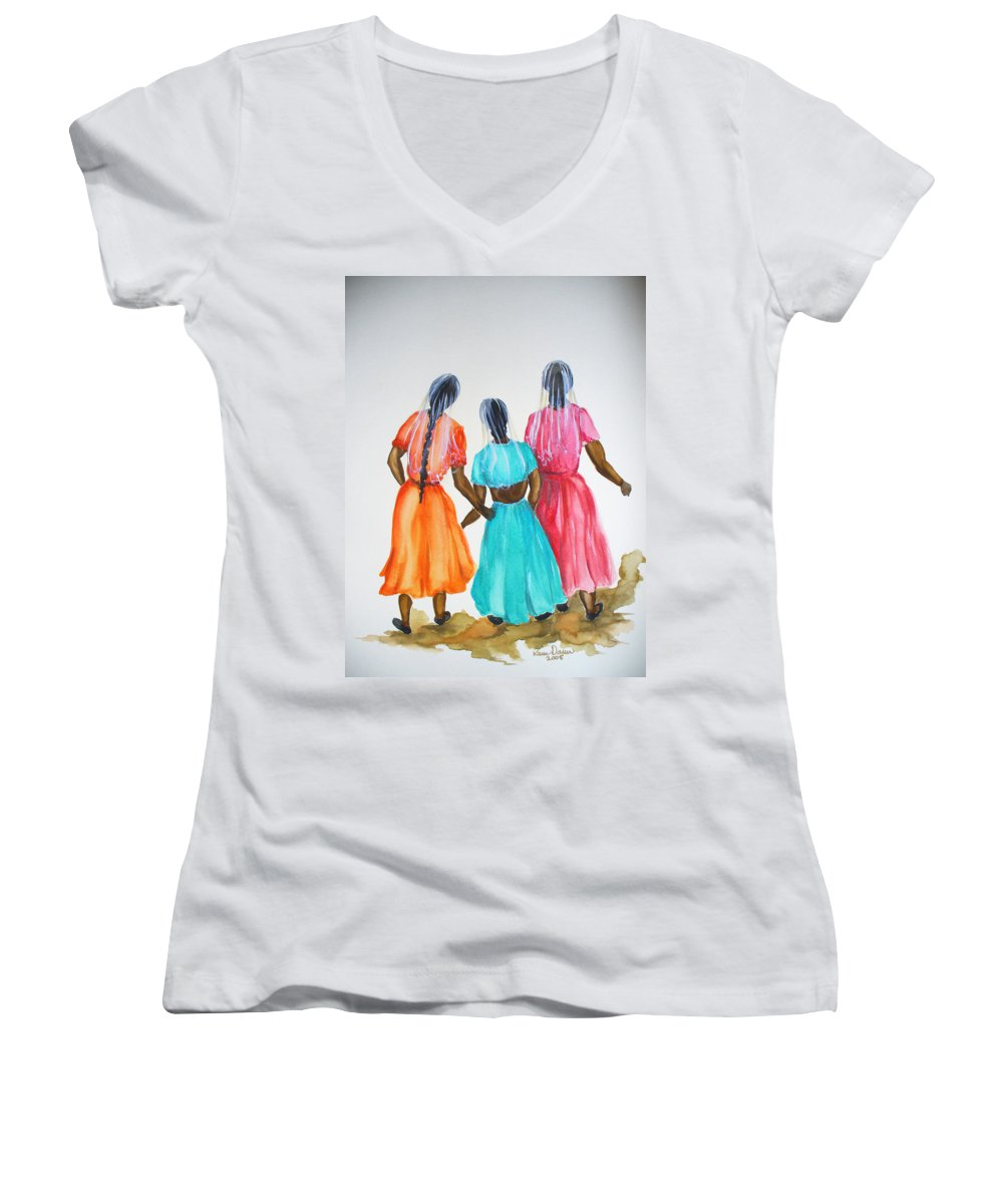 Three Ladies East Indian Women's V-Neck T-Shirt featuring the painting 3bff by Karin Dawn Kelshall- Best