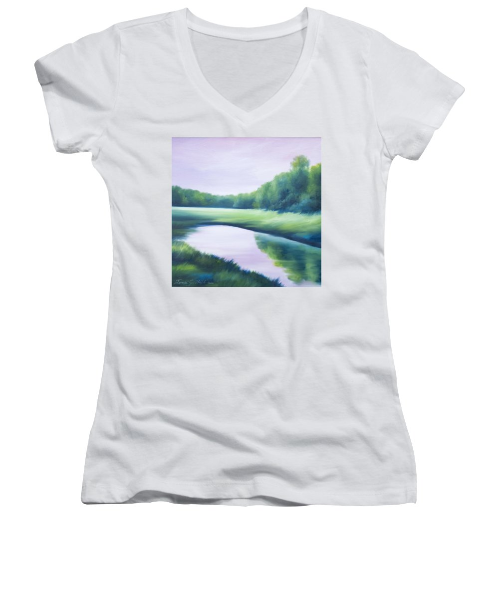 Nature; Lake; Sunset; Sunrise; Serene; Forest; Trees; Water; Ripples; Clearing; Lagoon; James Christopher Hill; Jameshillgallery.com; Foliage; Sky; Realism; Oils; Green; Tree; Blue; Pink; Pond; Lake Women's V-Neck (Athletic Fit) featuring the painting A Day In The Life 1 by James Christopher Hill