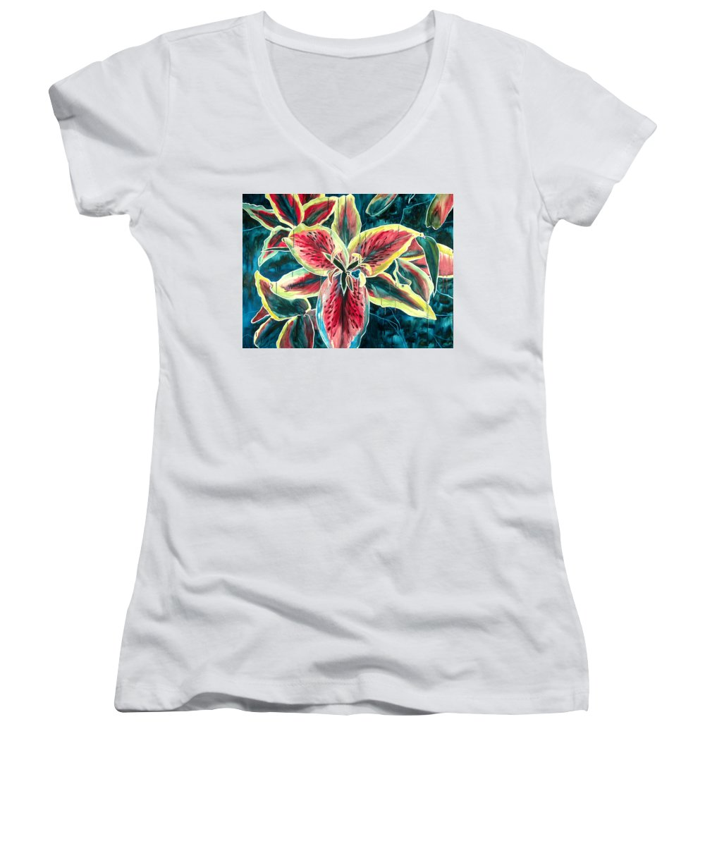 Floral Painting Women's V-Neck T-Shirt featuring the painting A New Day by Jennifer McDuffie