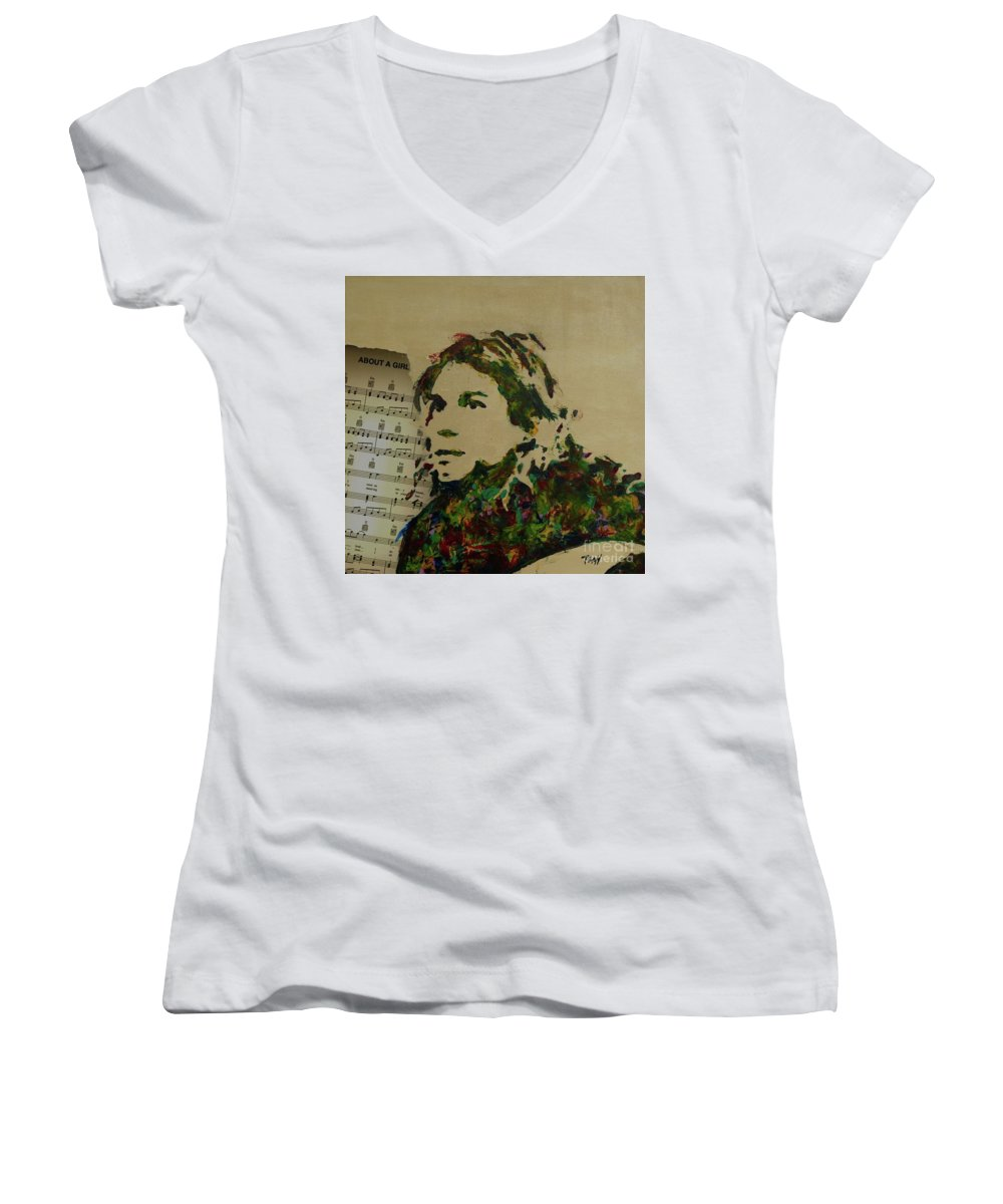 Kurt Cobain Women's V-Neck (Athletic Fit) featuring the mixed media About A Girl by Laura Toth
