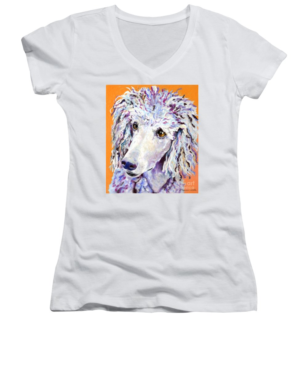 Standard Poodle Women's V-Neck (Athletic Fit) featuring the pastel Above The Standard  by Pat Saunders-White
