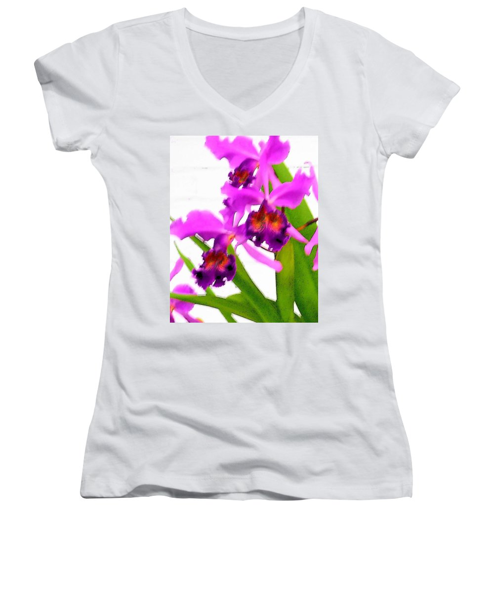 Flowers Women's V-Neck (Athletic Fit) featuring the digital art Abstract Iris by Anita Burgermeister