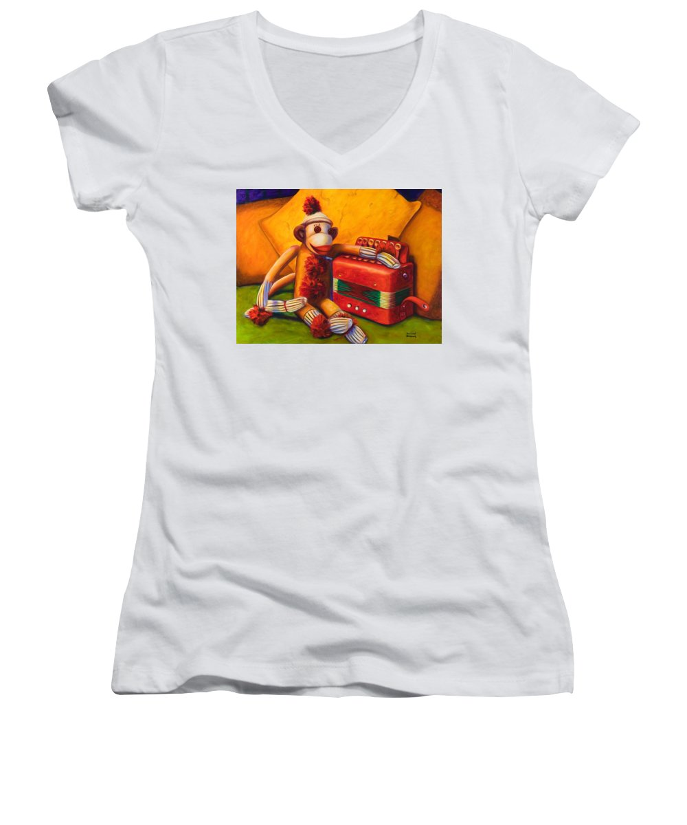 Children Women's V-Neck T-Shirt (Junior Cut) featuring the painting Accordion by Shannon Grissom