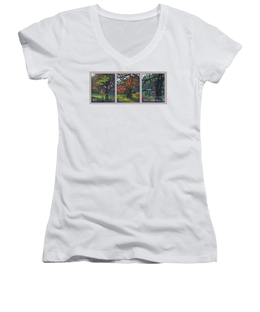Autumn Foliage Women's V-Neck T-Shirt featuring the painting Across The Creek Triplet by Donald Maier