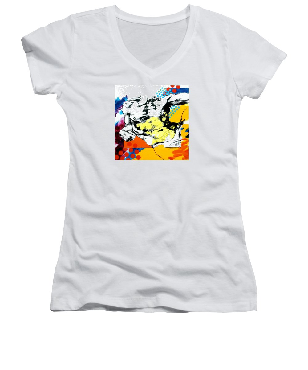 Pop Women's V-Neck (Athletic Fit) featuring the painting Adam by Jean Pierre Rousselet