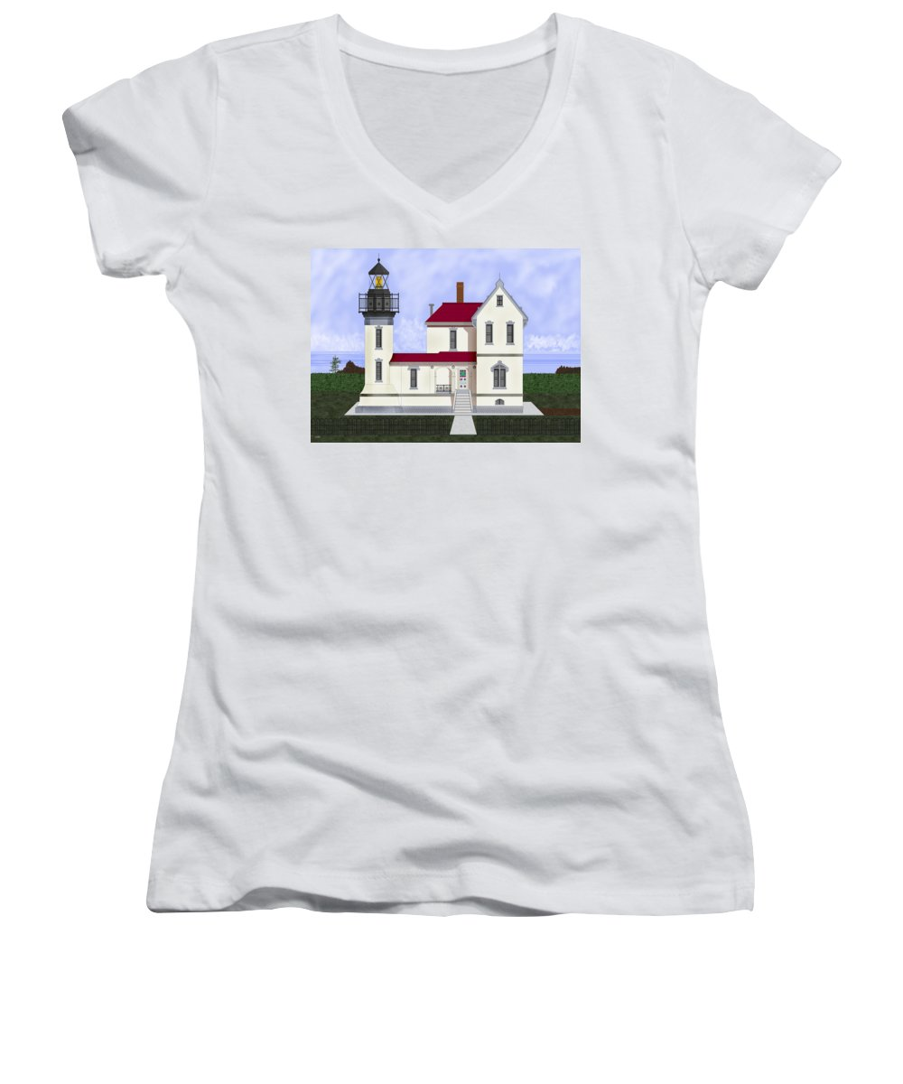 Admiralty Head Women's V-Neck T-Shirt featuring the painting Admiralty Head Light Station Circa 1920 by Anne Norskog