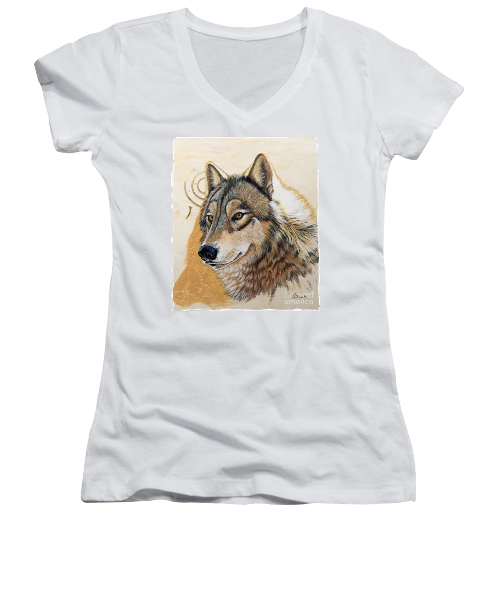 Acrylics Women's V-Neck T-Shirt featuring the painting Adobe Gold by Sandi Baker