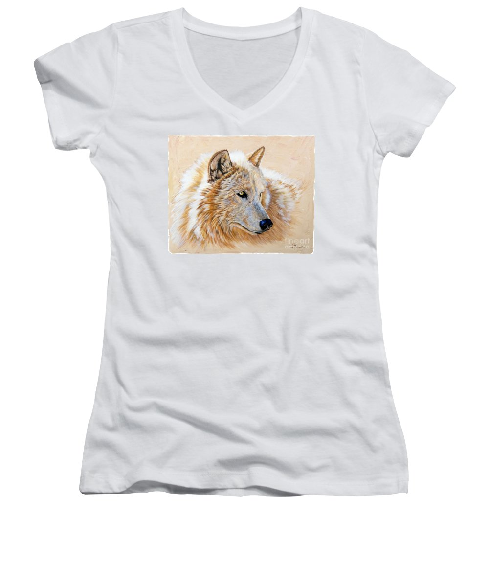Acrylic Women's V-Neck T-Shirt featuring the painting Adobe White by Sandi Baker
