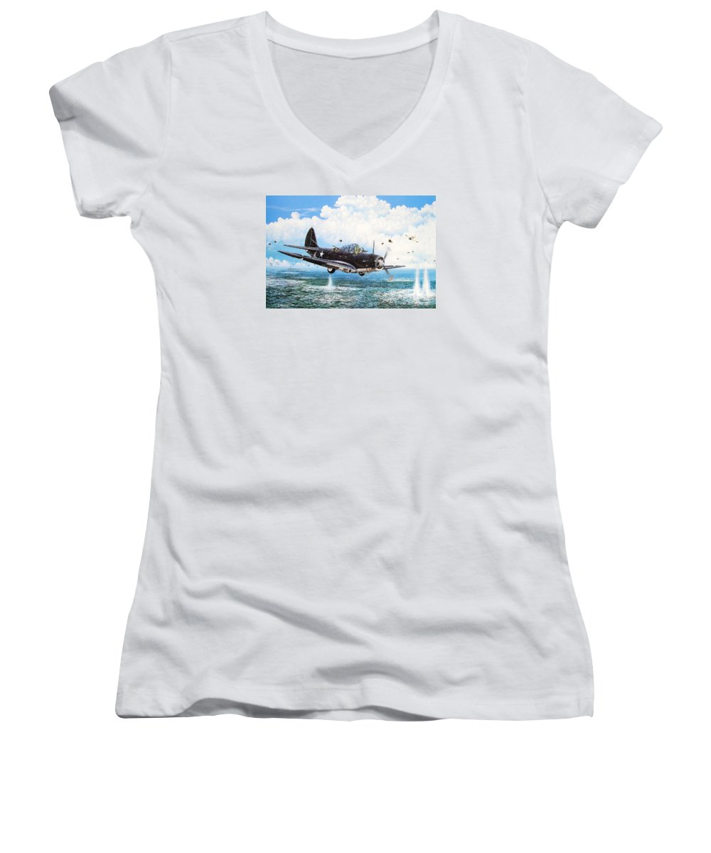 Military Women's V-Neck T-Shirt featuring the painting Against The Odds by Marc Stewart