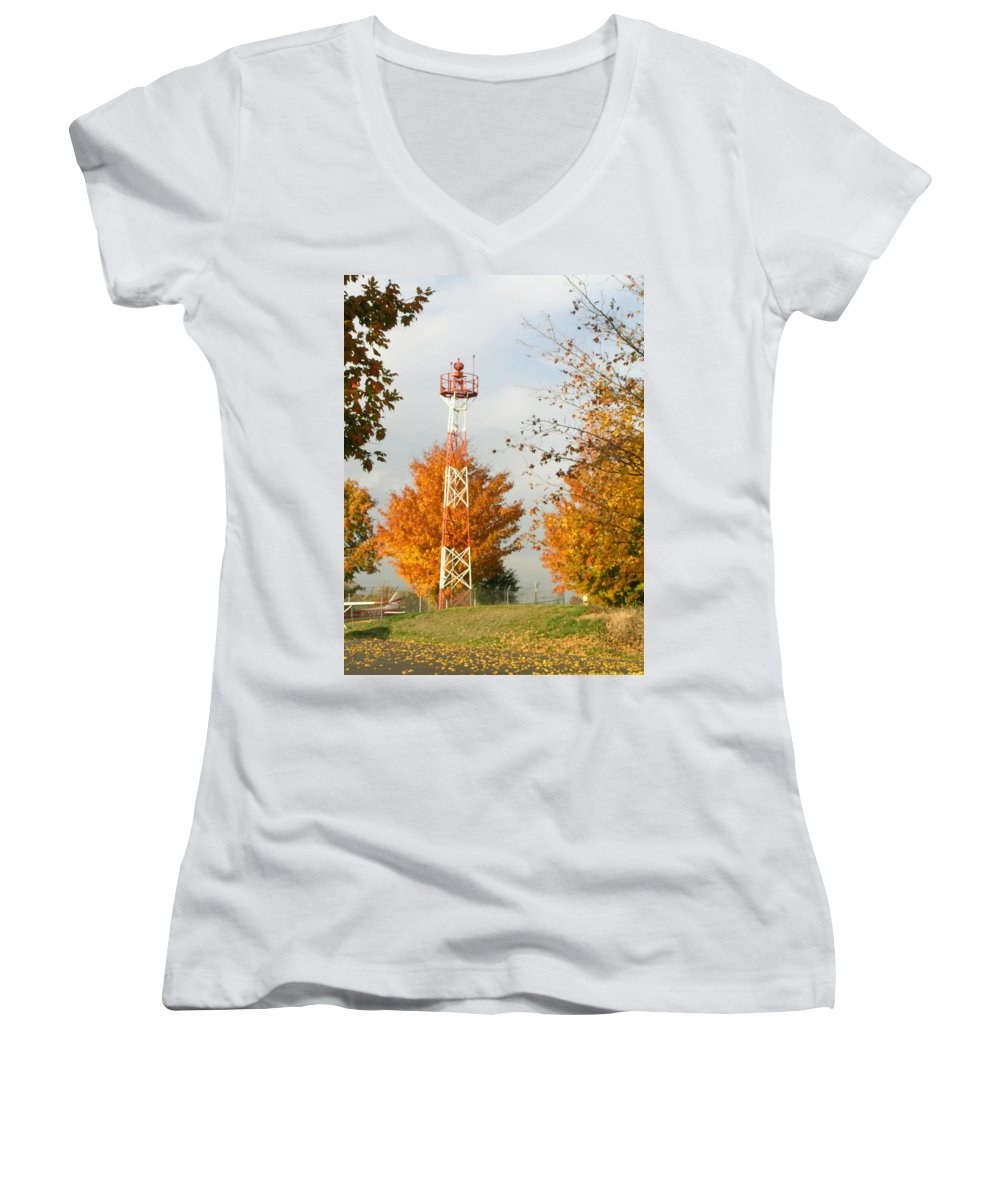 Airport Women's V-Neck (Athletic Fit) featuring the photograph Airport Tower by Douglas Barnett