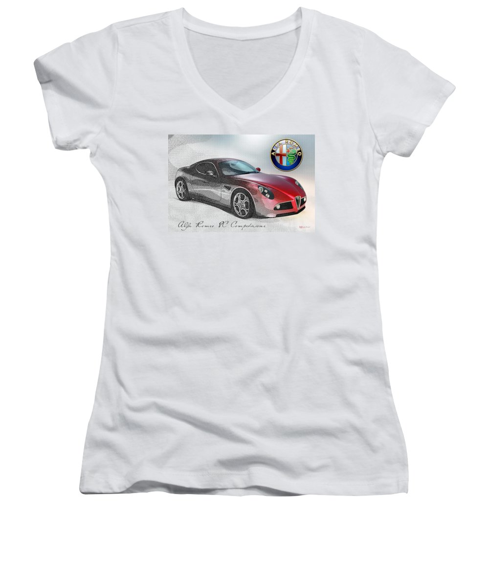 Wheels Of Fortune By Serge Averbukh Women's V-Neck featuring the photograph Alfa Romeo 8c Competizione by Serge Averbukh