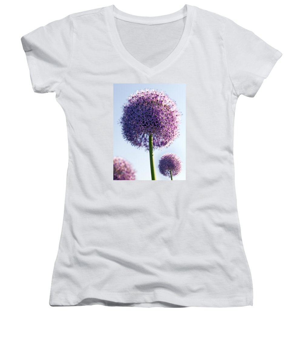 Allium Women's V-Neck T-Shirt featuring the photograph Allium Flower by Tony Cordoza