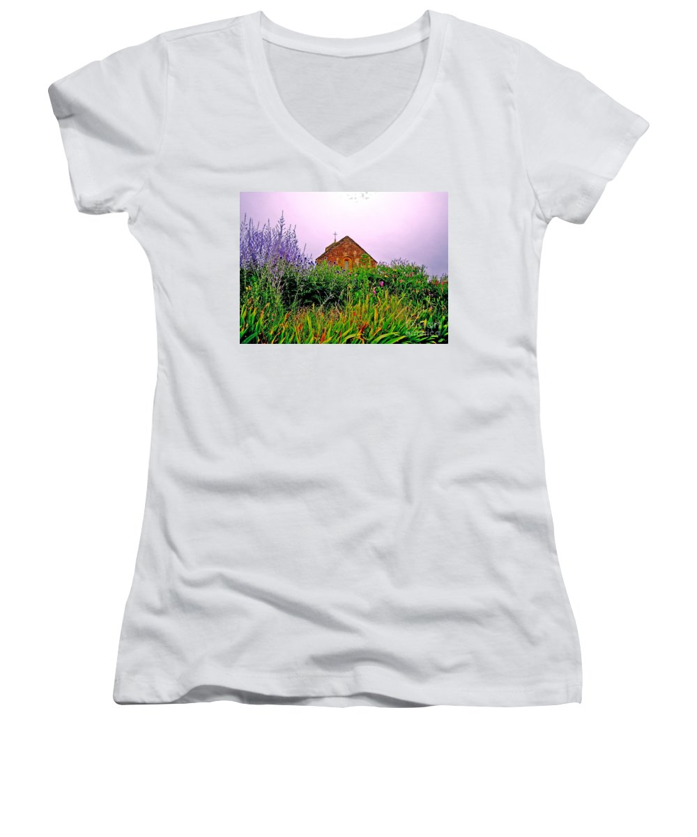 Chapel Women's V-Neck T-Shirt featuring the photograph Ameugny 3 by Jeff Barrett
