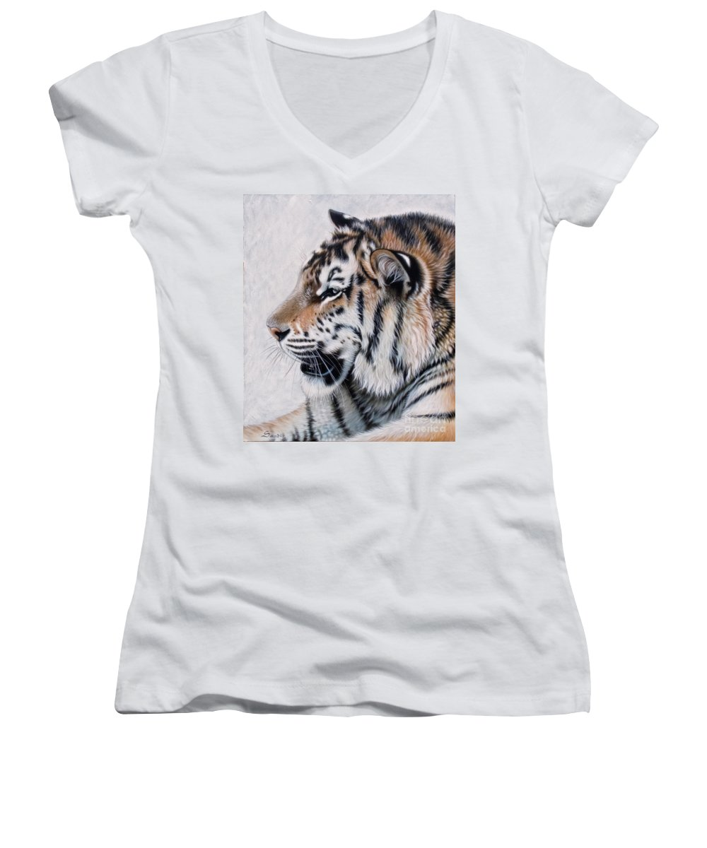 Acrylic Women's V-Neck T-Shirt featuring the painting Amur by Sandi Baker