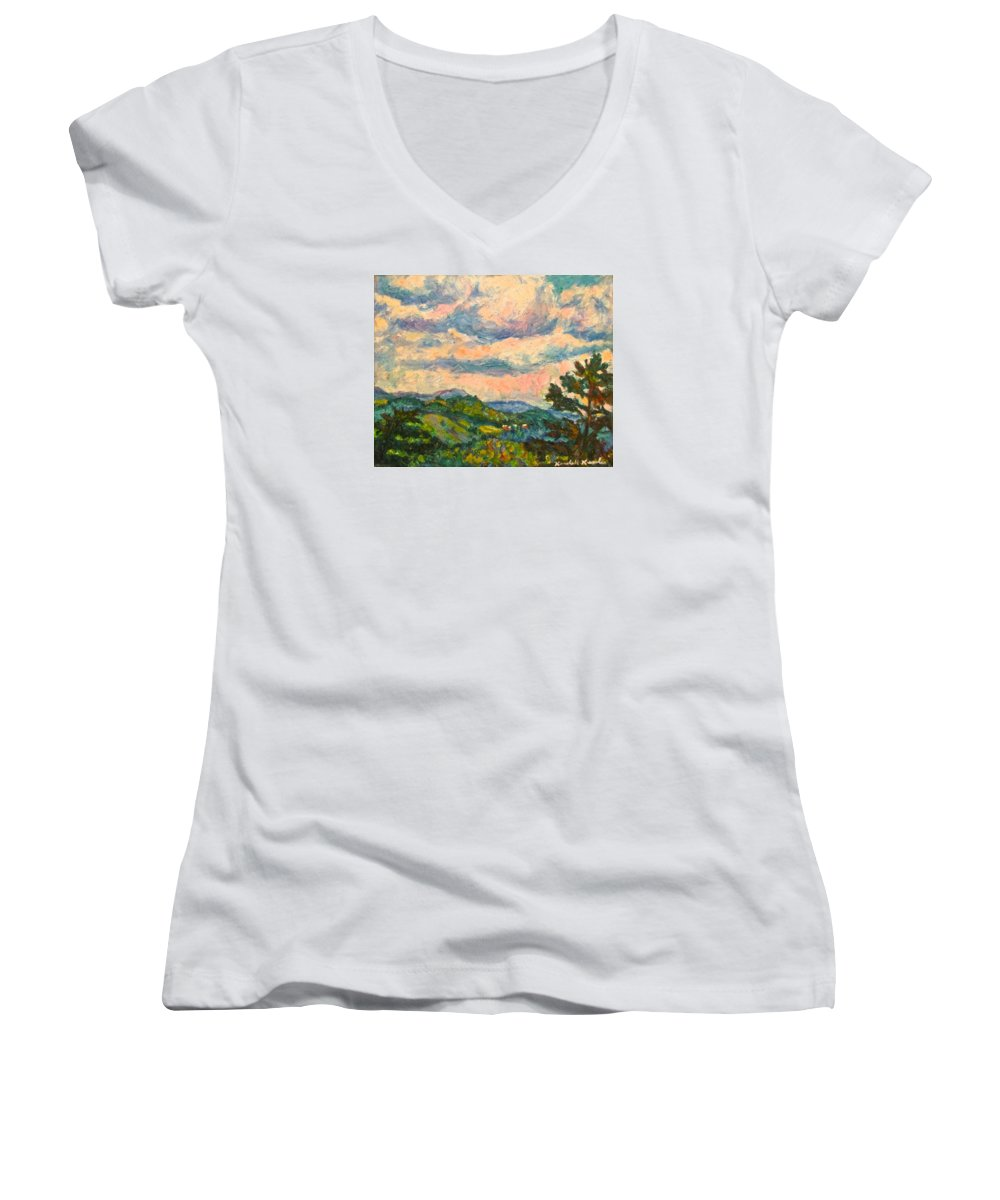 Landscape Paintings Women's V-Neck T-Shirt featuring the painting Another Rocky Knob by Kendall Kessler